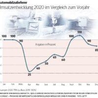 Umsatzentwicklung 2020 im Vergleich zum Vorjahr