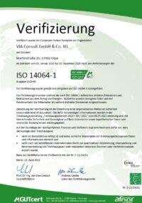 Zertifikat CCarbon Footprint